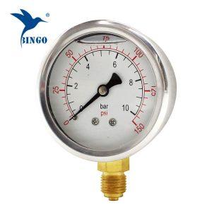 เหล็กกล้าไร้สนิม 60mm กรณีทองเหลืองเชื่อมต่อด้านล่างชนิดความดันเครื่องวัดความดัน 150PSI น้ำมันกรอกเกจวัดความดัน